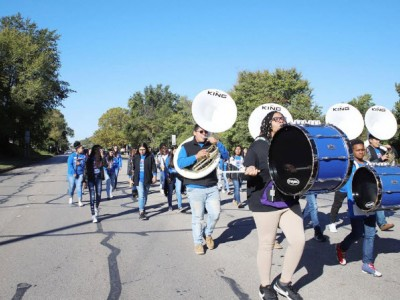 High school band drum section in parade